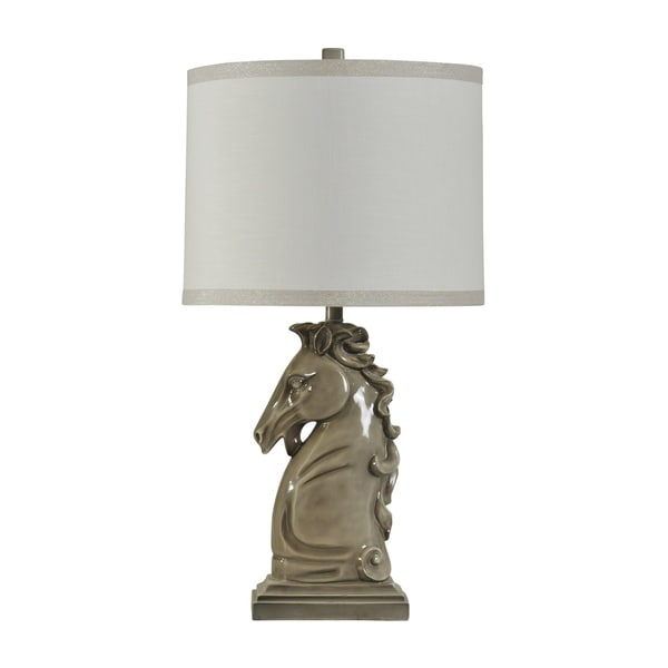 Palomino Ceramic Gray Table Lamp - White Hardback Fabric Shade