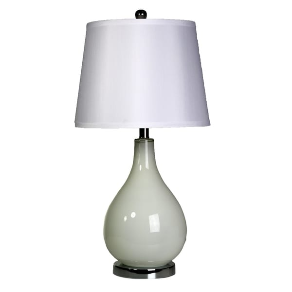 Off White Table Lamp - White Hardback Fabric Shade