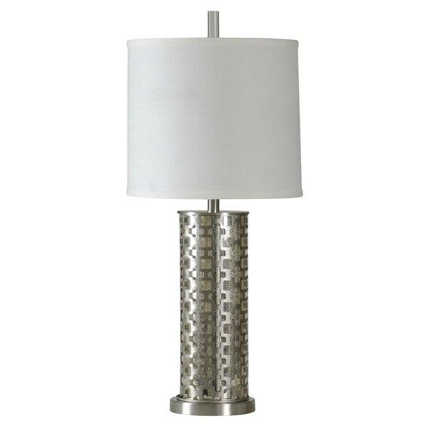 StyleCraft Estero Brushed Steel Table Lamp - White Hardback Fabric Shade