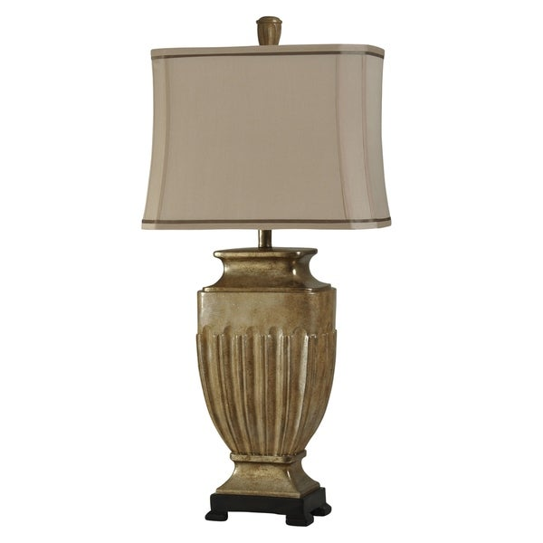 Exeter Tan Table Lamp - Beige Fabric Shade