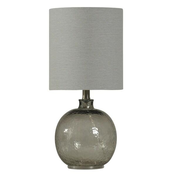 Smoke Glass Table Lamp - White Hardback Fabric Shade