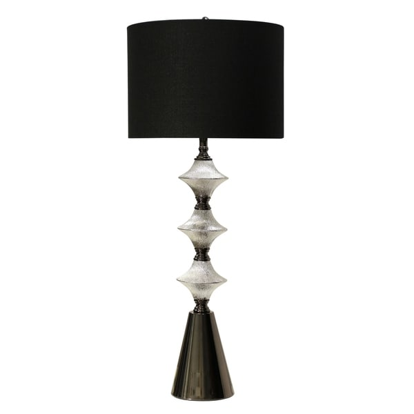 Ceramic Silver And Black Chrome Table Lamp - Black Hardback Fabric Shade