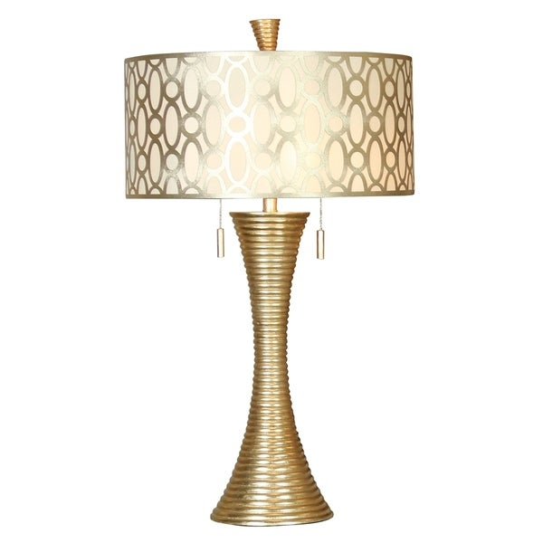 StyleCraft Silanti Contemporary Gold Table Lamp - Gold Designer Print Hardback Fabric Shade