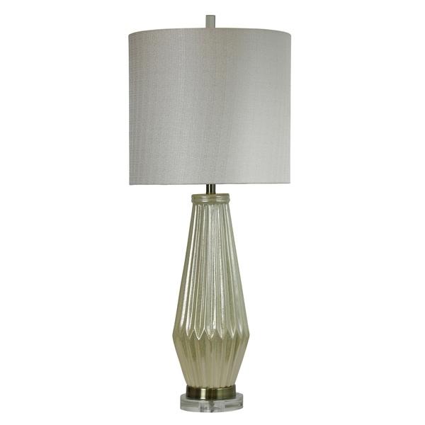 Brasilia Ceramic Ivory Table Lamp - Grey Hardback Fabric Shade