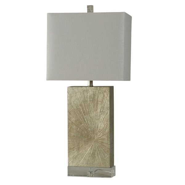 StyleCraft Jane Seymour Contemporary Silver Wood Table Lamp - White Hardback Fabric Shade