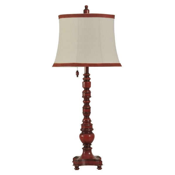 Providence Red Table Lamp - Taupe Fabric Shade