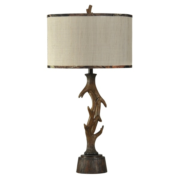Mossy Oak Dalton Dark Brown Table Lamp - Beige Hardback Fabric Shade