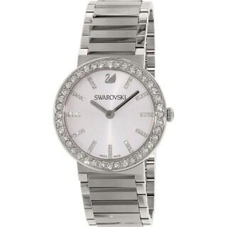 Swarovski elements Women's 'Citra Spehere' Crystal Stainless Steel Watch - silver
