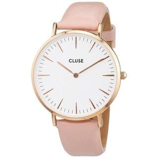 Cluse Women's CL18014 'La Boheme' Pink Leather Watch - WHITE - N/A