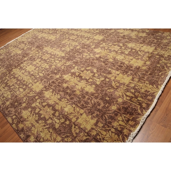 Hand Knotted Persian Style Wool Pile Area Rug: Shop Botanical Pure Wool Hand-Knotted Oriental Pile Area