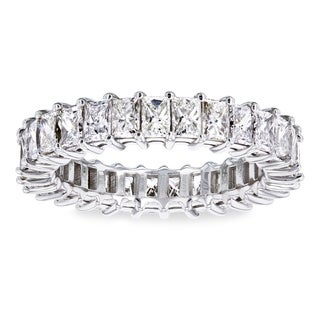 Annello by Kobelli 18k White Gold 2 7/8ct TDW Princess Baguette Diamond Eternity Band - Size 5.25