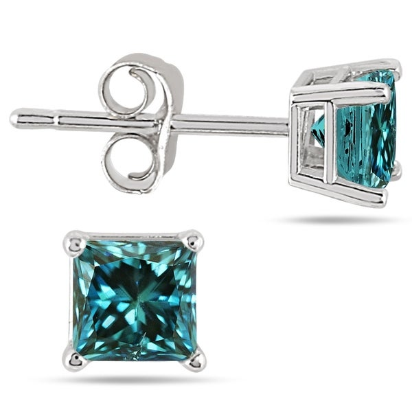 3 4 Carat Princess Cut Blue Diamond Solitaire Earrings In 14k White Gold
