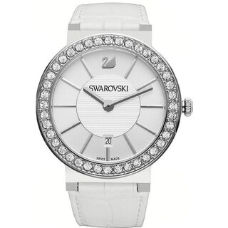 Swarovski elements Women's 'Citra Sphere' Crystal White Leather Watch - silver
