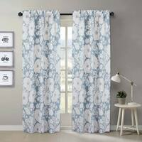 Nouvelle Home Chambray Floral Cotton Curtain Panel Pair - 84x40