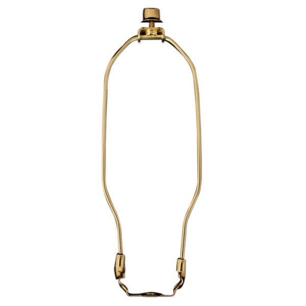 "Royal Designs 7.5"" Heavy Duty Lamp Harp Finial and Lamp Harp Holder Set Polished Brass Single"