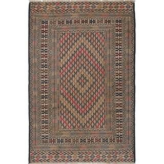 eCarpetGallery Flat-weave Shiravan Sumak Cream, Dark Burgundy Wool Sumak - 4'0 x 6'1