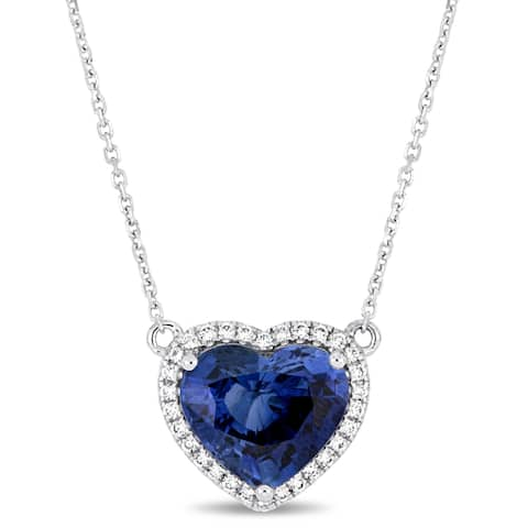 Miadora Signature Collection 14k White Gold Blue Sapphire and 1/6ct TDW Diamond Heart Necklace