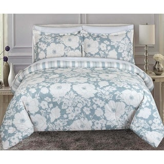 Nouvelle Home Chambray Floral Cotton Reversible Comforter Set