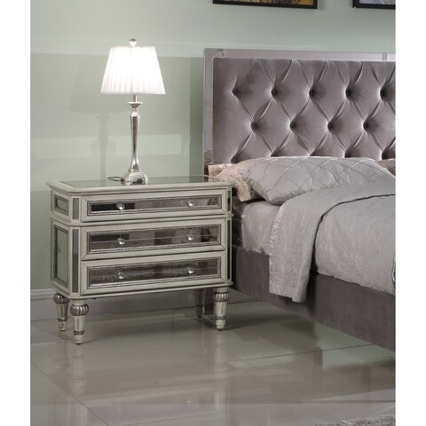 Best Master Furniture 3 Drawer Cream with Antique Mirrored Nightstand