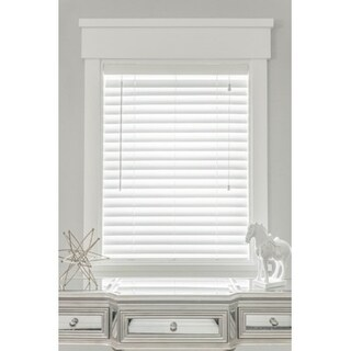 MySmartBlinds Custom Automated White Faux Wood 44-inch Width Blinds