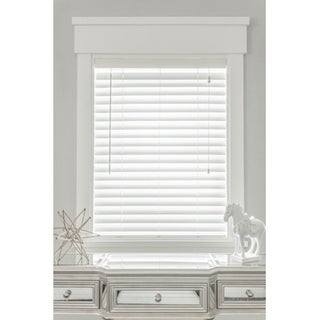 MySmartBlinds Custom Automated White Faux Wood 54-inch Width Blinds