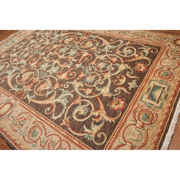 Traditional French Savonnerie Full Pile Hand Knotted Area Rug Brown Beige 9 X 12 Overstock 20956983
