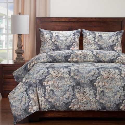 Siscovers Cindersmoke Distressed Damask Duvet and Shams