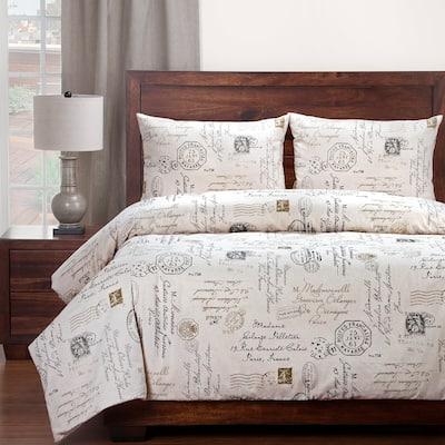 Siscovers French Postscript Cotton Blend 3-piece Duvet Cover Set