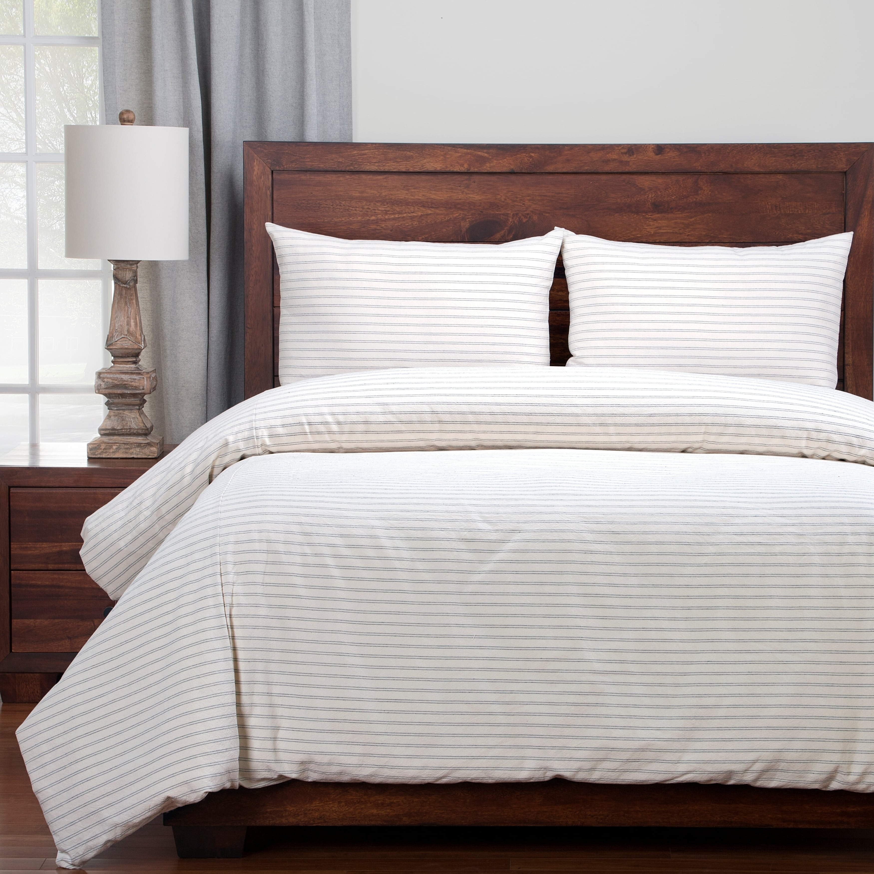 Full//Queen or King 3-Piece Ticking Stripe Quilt and Sham Bedding Set Grey White