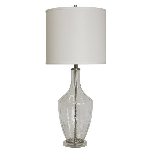 Seeded Clear Glass Table Lamp - White Hardback Fabric Shade