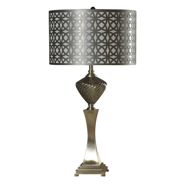 Sippai Smoke Glass and Brushed Steel Table Lamp - Grey Hardback Fabric Shade