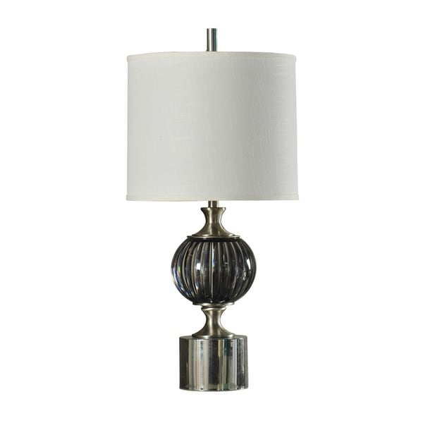 StyleCraft Easton Contemporary Black and Brushed Steel Table Lamp - White Hardback Fabric Shade