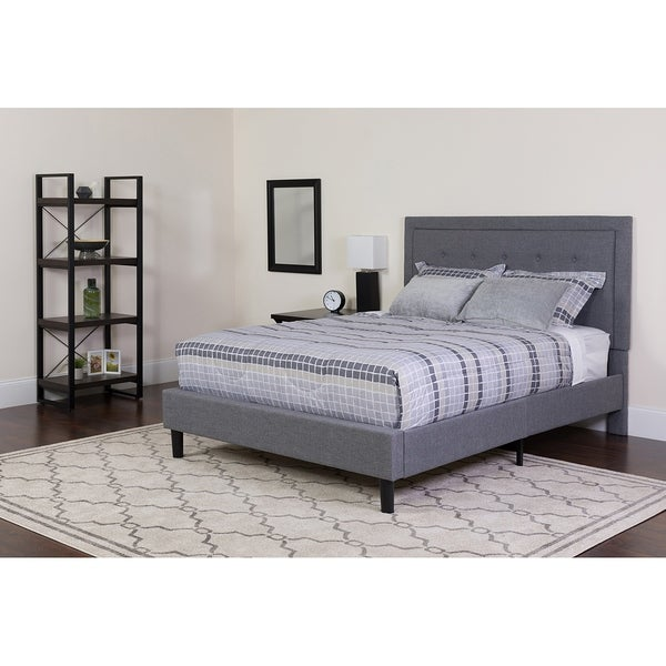 Shop Logan Full Size Light Grey Fabric Platform Bed With Button - Logan-leather-bed-with-adjustable-headboard
