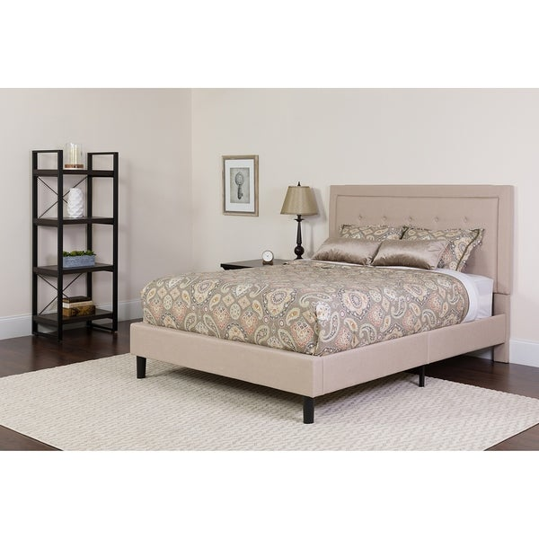 Shop Logan Full Size Beige Fabric Platform Bed With Button Tufted - Logan-leather-bed-with-adjustable-headboard