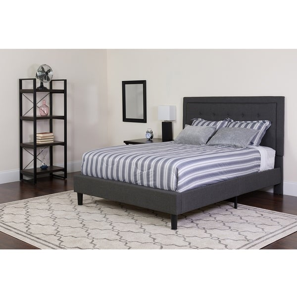shop logan queen size dark grey fabric platform bed with button tufted headboard on sale. Black Bedroom Furniture Sets. Home Design Ideas