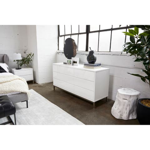 Aurelle Home White Gloss 6-dresser Modern Dresser