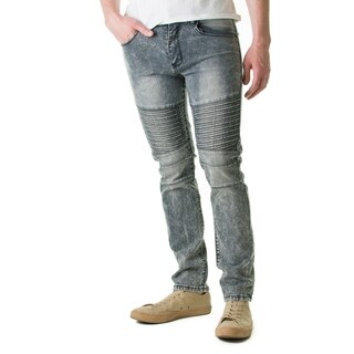 Refinery Republic Men's Acid Washed Grey, Moto Thigh, Slim Straight Fit Denim Jeans