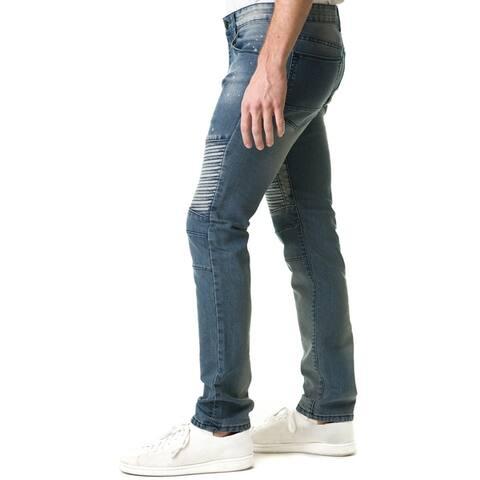 Refinery Republic Men's Acid Washed Grey, Moto Thigh, Slim Straight Fit Denim Jeans
