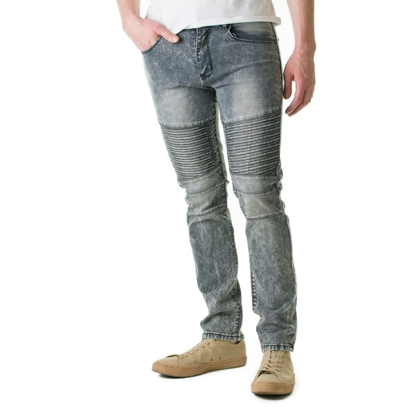 Refinery Republic Men's Acid Washed Grey, Moto Thigh, Slim Straight Fit Denim Jeans. Opens flyout.
