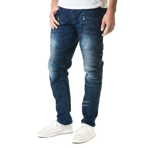 Refinery Republic Men's Dark Washed Blue, Moto Thigh, Slim Straight Fit Denim Jeans