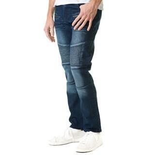 Refinery Republic Men's Dark Washed Blue, With Moto Thigh & Zipper Design, Slim Straight Fit Denim Jeans