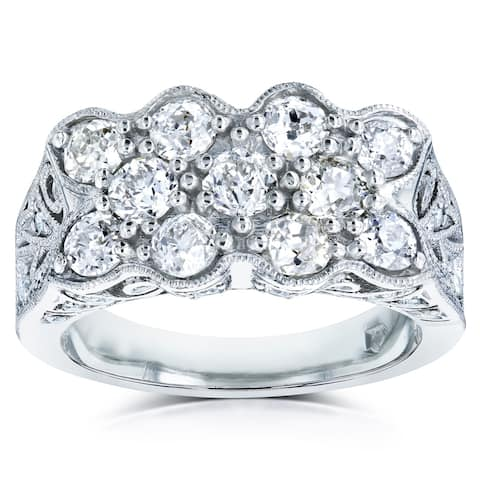 Annello by Kobelli Platinum 1 7/8ct TDW Old Mine Cut Diamond Wide Vintage Indented Concave Ring