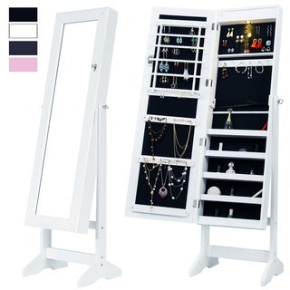 Mirrored Jewelry Cabinet Lockable Jewelry Armoire Free Standing Full Length Floor Tilting Organizer with LED Light, White