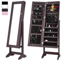 14907f5be Mirrored Jewelry Cabinet Lockable Jewelry Armoire Free Standing Full Length Floor  Tilting Organizer with LED Light