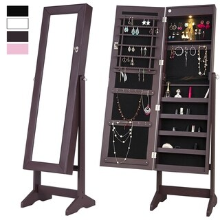 Mirrored Jewelry Cabinet Lockable Jewelry Armoire Free Standing Full Length Floor Tilting Organizer with LED Light, Espresso