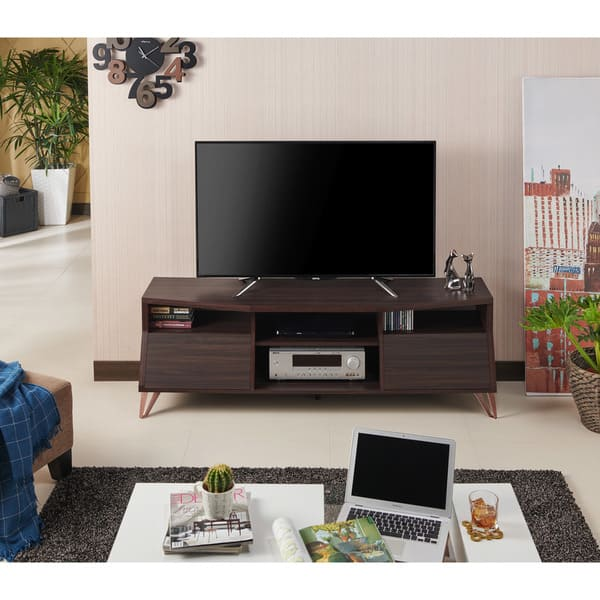 Shop Furniture Of America Umer Contemporary 63 Inch Brown Tv