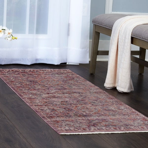 Pink Ivory Bordered Area Rug With Fringe By Nicole Miller 5 X27