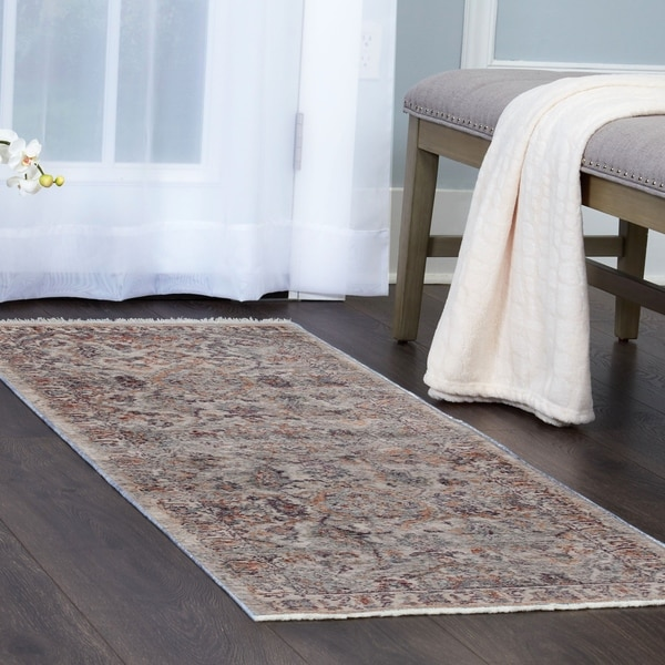 Shop Artisan Ivory Gray Bordered Area Rug With Fringe By