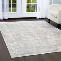 """Artisan Gray Distressed Medallion Area Rug with Fringe by Nicole Miller - 7'10""""x10'2"""""""