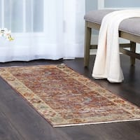"""Artisan Pink-Ivory Distressed  Area Rug with Fringe by Nicole Miller - 26""""x94"""""""